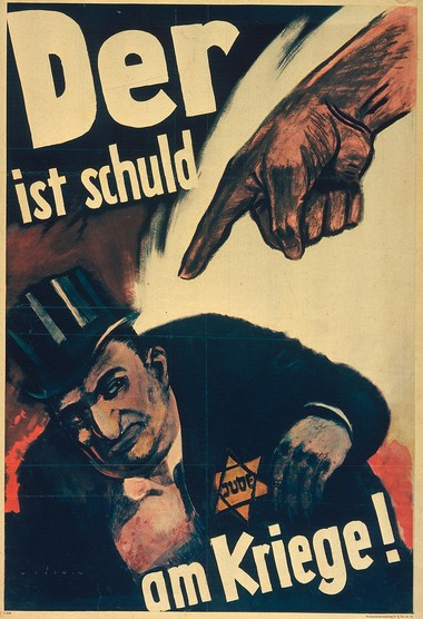 """The 1943 Nazi propaganda poster, """"He is to blame for the war!"""" designed by the artist known as Mjolnir [Hans Schweitzer], exemplifies how the party sought to provoke hatred of Germany's Jews by portraying them as enemies guilty of warmongering and betraying Germany from within."""