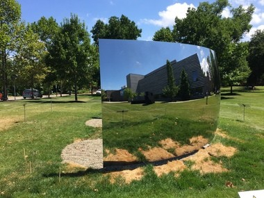 """Anish Kapoor's """"C-Curve"""" as it appeared Monday, Aug. 3 at the Cleveland Museum of Art."""