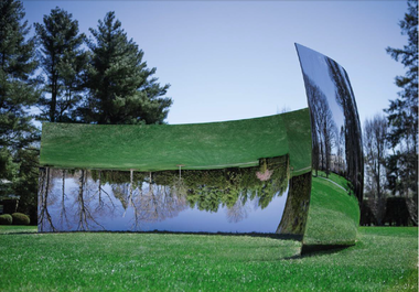"""An undated photograph of the original installation of Anish Kapoor's """"C-Curve"""" on the property of its anonymous lender to the museum."""