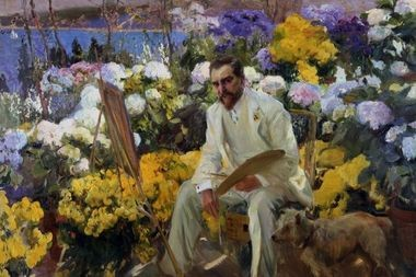 Louis Comfort Tiffany, 1911. Joaquin Sorolla (Spanish, 1863-1923). Oil on canvas; 150.5 x 225.4 cm. On loan from the Hispanic Society of America, New York, NY, A3182.