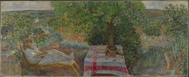 Rest Time in the Garden, 1914. Pierre Bonnard (French, 1867-1947). Oil on canvas; 100.5 x 249.1 cm. The National Museum of Art, Architecture and Design, Oslo, NG.M.01643. Photo: Borre Hostland. (c) The National Museum of Art, Architecture and Design, Oslo. (c) 2015 Artists Rights Society (ARS), New York/ADAGP, Paris.