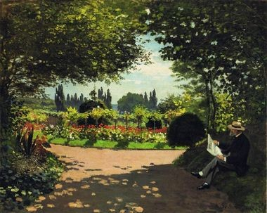Adolphe Monet in the Garden of Le Coteau at Sainte-Adresse, 1867. Claude Monet (French, 1840-1926). Oil on canvas; 82.6 x 100.6 cm. Courtesy of the Larry Ellison Collection.