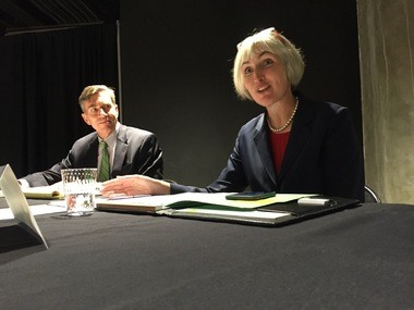 Karen Gahl-Mills, executive director of Cuyahoga Arts and Culture, spoke at a recent meeting of the organization's board as chairman Joe Gibbons listened.