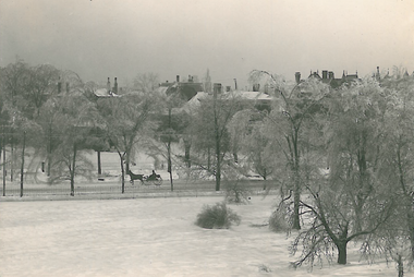 An undated 19th century photograph of Euclid Avenue in the snow, viewed from the Stager-Beckwith Mansion, soon to become the new home of the Children's Museum of Cleveland.