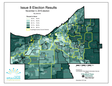 A map prepared for Cuyahoga Arts and Culture by Cleveland State University shows how Cleveland voters voted in various county council districts on Nov. 3 on Issue 8, which renewed the county's cigarette tax for arts and culture.