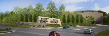 A rendering shows how the Schreckengost pachyderms will look when installed at the Cleveland Museum of Natural History.