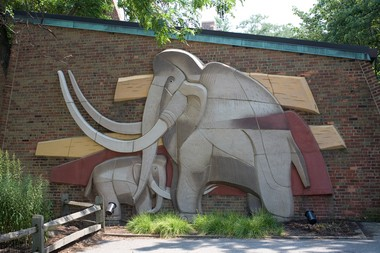 The Viktor Schreckengost mammoth as originally installed at the Cleveland Metroparks Zoo. John Seyfried photo courtesy Cleveland Museum of Natural History.