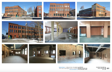 A panel of photographs of the Van Rooy building as it currently appears.