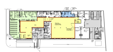 Architect John Williams prepared a floor plan for the new Spaces at the Van Rooy building.