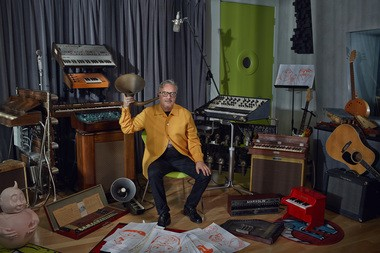 """A portrait by Ryan Schude of DEVO's Mark Mothersbaugh inside of his Sunset Boulevard studio in West Hollywood, Los Angeles. Mothersbaugh's traveling """"Myopia"""" exhibit opens May 27 and 28, respectively at the Museum of Contemporary Art Cleveland and the Akron Art Museum."""