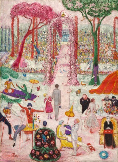 "Florine Stettheimer's 1917 ""Sunday Afternoon in the Country"" hangs in unexpected surroundings in the Cleveland Museum of Art's new contemporary installation."