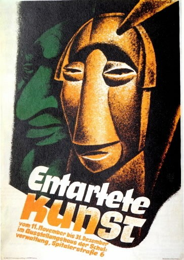 """The 1938 """"Degenerate Art"""" poster, shown here in its entirety, exemplifies anti-Semitic caricature as employed by Nazi propagandists, but is not part of the current Maltz Museum exhibition on the topic."""
