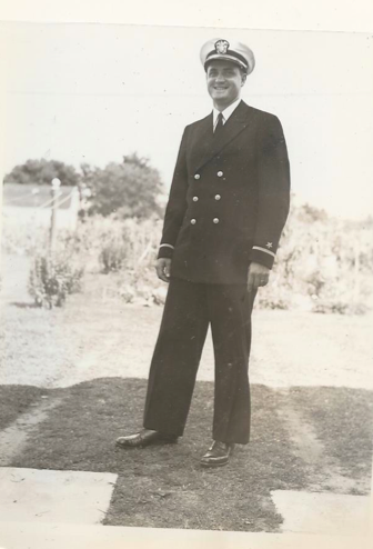 A picture from a family photo album shows Lee during his Navy service in World War II.