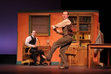 """James Rankin, left, and Michael Johnson in Cuyahoga Community College's production of """"Three Generations of Imbeciles."""""""