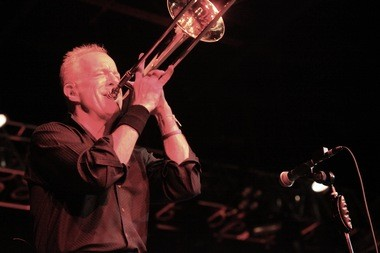 """Chicago co-founder James Pankow, who wrote the sentimental """"Colour My World,'' was a whirling dervish on trombone Tuesday night at the Hard Rock Live."""