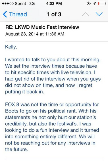 LKWD Music Fest organizer Kelly Flamos posted the angry letter she received from Fox 8 on her Facebook page.