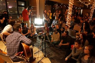 The indie folk duo Beta Radio performs at Arras Keathley Advertising at a Sofar show in February.