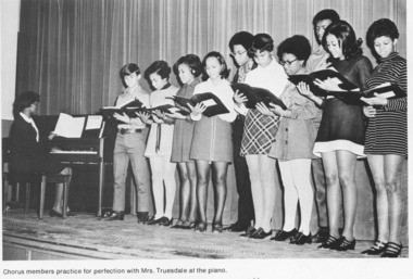 Future Country and Gospel Hall of Famer Jimmy Fortune, far left, rehearses with the Nelson County High School (Virginia) choir, under the direction of his favorite teacher, Mrs. Delores Truesdale, in 1971. This shot is from the NCHS Governor yearbook.