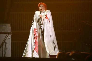 Lady Gaga performs a tribute to David Bowie at the 58th annual Grammy Awards on Monday, Feb. 15, 2016. (Photo by Matt Sayles/Invision/AP)