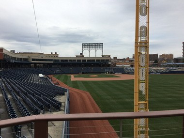 The view from right field, where The Game Grill + Bar is located.