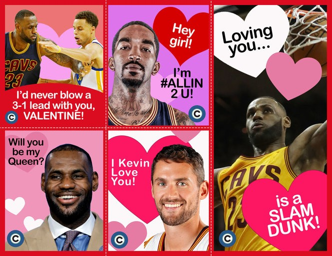 Happy Valentine's Day! Enjoy these Cavs-themed valentine cards. (Image by Zachariah Durr)