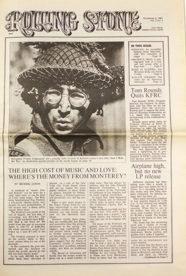 """This first issue of Rolling Stone magazine, from 1967, will be part of a new exhibit at the Rock & Roll Hall of Fame opening on May 5. It's called """"Rolling Stone/50 Years.''"""