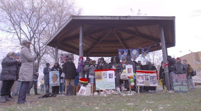 """In """"Dispatches from Cleveland,"""" mourners gather to remember 12-year-old Tamir Rice in the Cudell Recreation Center gazebo where he was shot and killed by police in November 2014."""