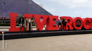 The Kardashians pose in front of the Rock and Roll Hall of Fame in Cleveland, April 11, 2017.