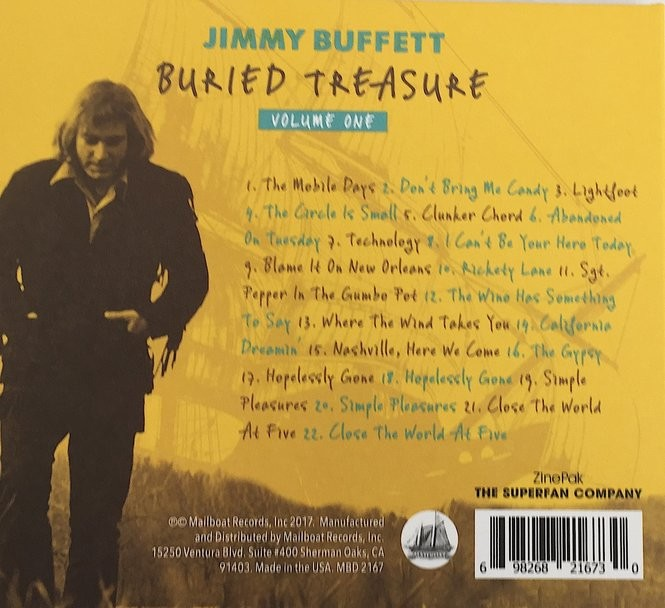"""Twenty-two tracks - half songs and half stories about the songs - make up Jimmy Buffett's trove, """"Buried Treasure: Volume One.''"""