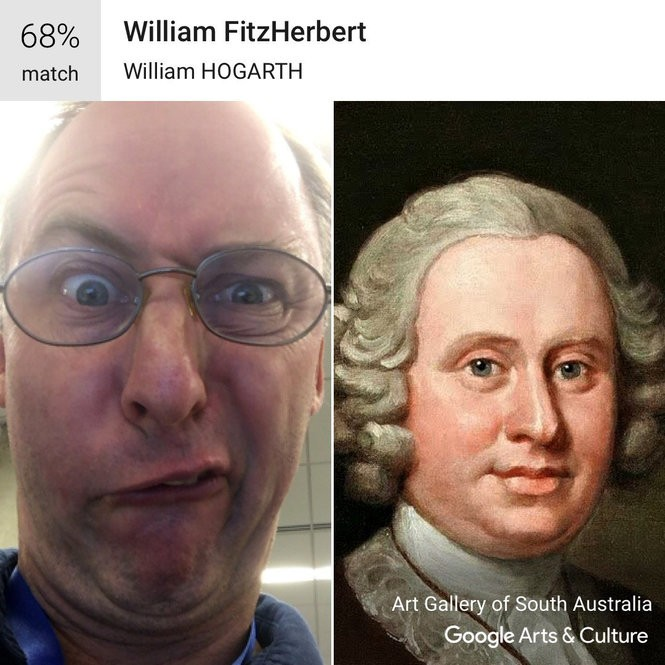 The author tries to look like a Francis Bacon portrait only to be told that his face matches a portrait by William Hogarth. (Photo: Sebastian Smee, Google Arts & Culture)