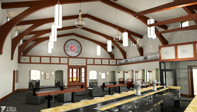 This is a rendering of the interior of The Still House at Gervasi Vineyard.