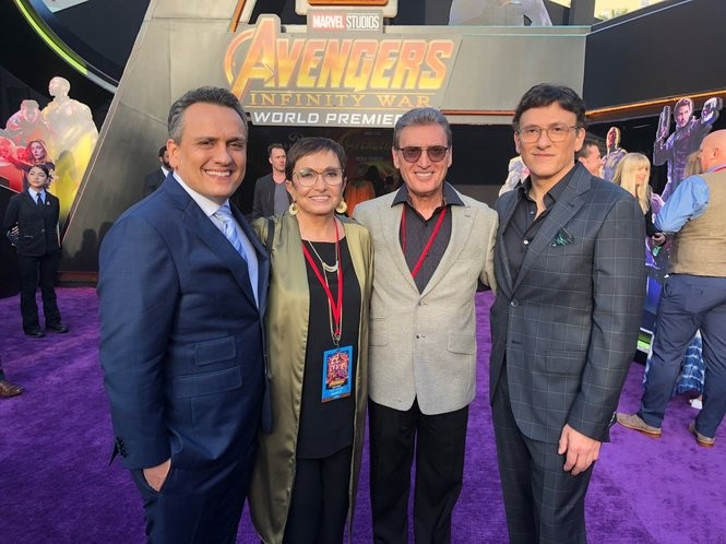 """The Russo brothers flank their proud parents, Patrica and Basil Russo, at the premiere of """"Avengers: Infinity War"""" in Hollywood."""