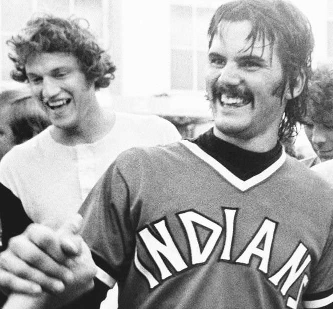 Dennis Eckersley after pitching a no-hitter in 1977.