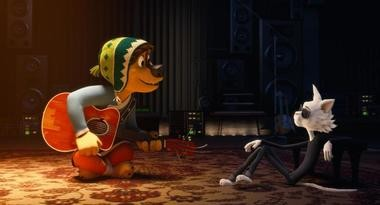 """Naive but enthusiastic Bodi (Luke Wilson), asks rock legend Angus Scattergood (Eddie Izzard) for guitar lessons in the animated family movie """"Rock Dog."""""""