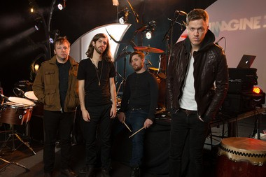 """The Las Vegas-based rock band Imagine Dragons, from left: Ben McKee, Wayne Sermon, Dan Platzman and Dan Reynolds pose for a group portrait. The band's debut album """"ÂÂÂÂNight Visions,""""has reached gold status and features the hits """"It;s Time"""" and RÂÂadioactive.""""The foursome, signed to music producer Alex da KidâÂÂÂÂs label imprint, is currently on a U.S. tour."""
