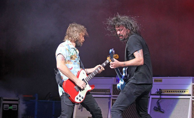 Foo Fighters lead singer Dave Grohl and lead guitarist Chris Shiflett perform during the group's Concrete and Gold Tour '18 at Blossom Music Center. Joshua Gunter, Cleveland.com