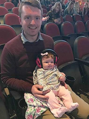 Myla Weber was probably the youngest patron in a crowd full of youngsters at Quicken Loans Arena for Tuesday's Twenty One Pilots show. Myla, with dad Mitch and mom Morgan, of Bucyrus, will be 12 weeks old on Wednesday.