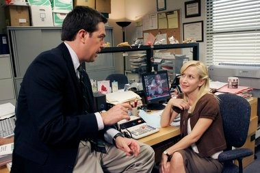 "At one point on ""The Office,"" Andy Bernard (Ed Helms) tried to woo Angela (Angela Kinsey)."