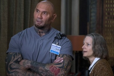 """Dave Bautista, left, and Jodie Foster in a scene from """"Hotel Artemis."""""""