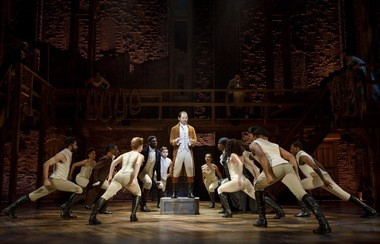 """Joseph Morales (Alexander Hamilton) and company in the national tour of """"Hamilton"""" at Playhouse Square through Sunday, Aug. 26."""