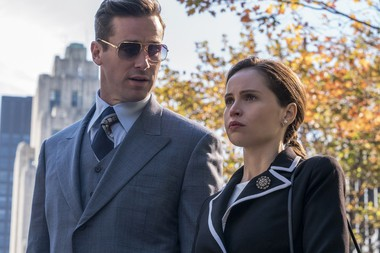 "Armie Hammer, left, plays Marty Ginsburg opposite Felicity Jones as Ruth Bader Ginsburg in ""On the Basis of Sex."""