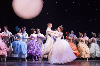 """Lukas James Miller and Kaitlyn Mayse (in white) and the cast of Rodgers & Hammerstein's """"Cinderella"""" at Playhouse Square's Connor Palace through Sunday. For tickets, call 216-241-6000 or go to playhousesquare.com."""