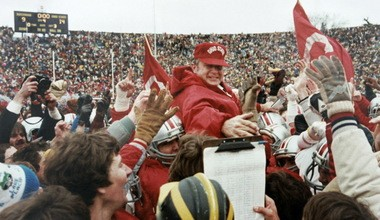 Coach Earle Bruce is carried off the field after the Buckeyes defeated Michigan, 14-9, in 1981.