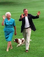 President George H.W. Bush, his wife Barbara and English springer spaniel Millie after she recovered from the effects of lead poisoning.