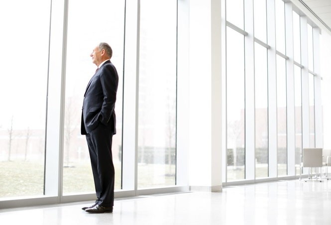 Cleveland Clinic CEO Toby Cosgrove stands in the new Clinic Taussig Cancer Center, not yet open to patients. The 7-story, 377,000-square-foot facility will house all outpatient cancer treatment services in one location on the north side of Carnegie Avenue between East 102nd and 105th Streets. Projects like these, and the medical school, are high on Cosgrove's list of priorities over the next few years.