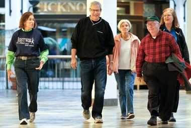 Dr. Tom Abelson, second from left, leads a Walk With a Doc walk at Beachwood Place Mall. The exercise program along with cooking demonstrations, educational talks and other activities are part of Live Long Lyndhurst, a community effort to make the eastside city as healthy as it can be.
