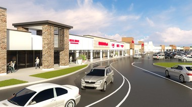 A rendering of the completed Golden Gate Plaza renovation, featuring new store facades.