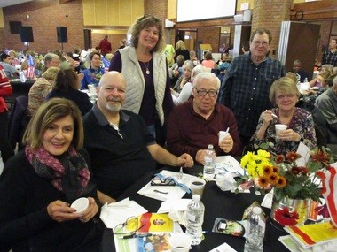 Chili cook-off attendees included, from left, Jan Minadeo, of Mayfield Heights; Paul Moliff, of Willoughby and formerly of South Euclid; and South Euclid residents Mary Egensperger, Norm Schlessel, Roger Lefkowitz and Kathleen Lefkowitz.