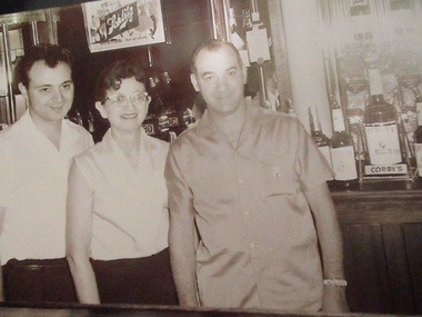 Pete DiCillo, left, with his mother, Mildred, and father, Anthony, in a photo taken at the bar in 1956 or '57.