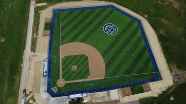 An aerial view of the new Figgie Field. Additions, such as grandstands and concession stands, are still to come.